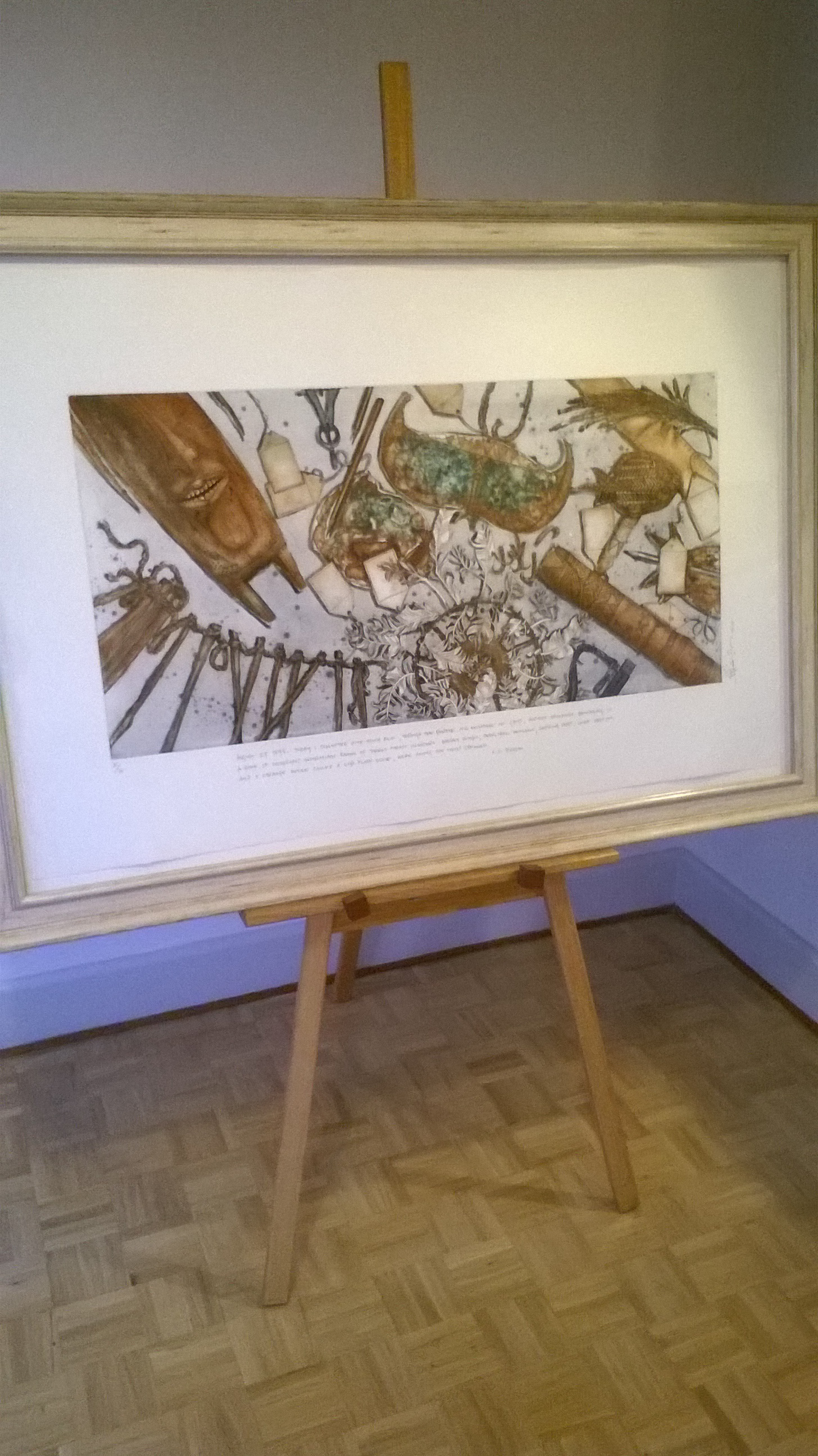 Art Show Partitioning easel with framed painting 1400mm wide x 980mm high 11kg