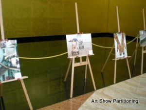 Art Show Partitioning easels at 101 Collins St foyer