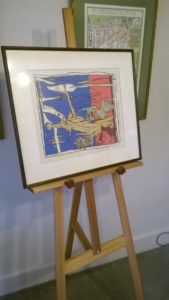 Art Show Partitioning Model3 easel with image 650mm wide and 580mm tall.